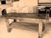 Tavolo falegname cucina;  banco da falegname nella versione fotografica vintage