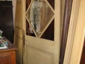 Porta antica anta unica laccata con vetri dipinti