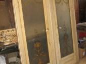 Coppia di porte antiche anta unica con vetri dipinti